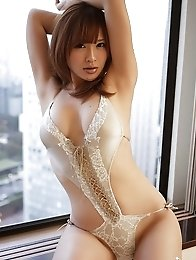 Busty asian Yuu Tejima skinny body posing in lingerie