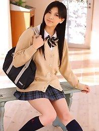 Brunette big tits japanese girl Saori Hara in school uniform