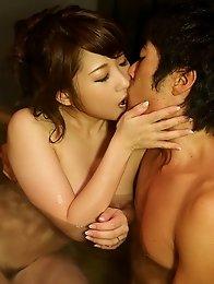 Horny and sweet Japanese av idol Rui Shinohara have sex in doggy style