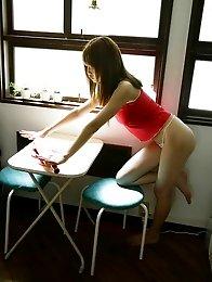Redhead japanese Akiho Yoshizawa in black lingerie