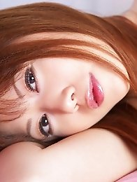 Redhead japanese girl Shun Aika shows her big tits