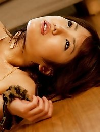 Busty and cute Japanese av idol Kokoro Maki shows her naked body wearing maid costume