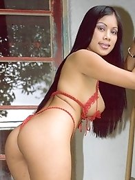 Sexy vietnamit girl posing her big tits in red lingerie