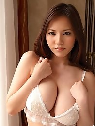 The beautiful Ruri Saijo posing her enormous big breasts