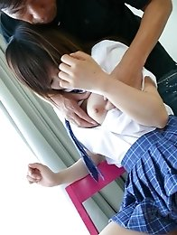 Miku Airi Asian has pussy aroused over panty and with vibrator