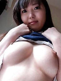 Haruka Ohsawa Asian in uniform shows her big nude bazoom bas