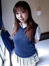 Haruka Ohsawa Asian in uniform shows her big nude bazoom bas