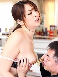 Hitomi Araki has nipples caught in chopsticks and cans sucked