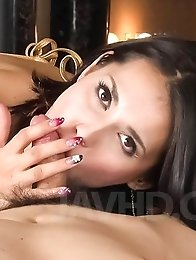 Maria Ozawa Asian plays with pierced tongue and boobs on shlong