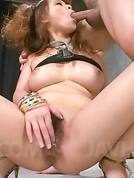 Asuka Asian busty gives strong blowjob before is fucked big time