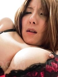 Yuna Hirose Asian has hard nipples squeezed and rides cock a lot