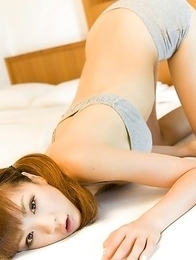 Aki Hoshino with big boobs sits with nasty ass up in air