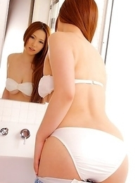 Ai Sayama with huge cans shows pussy in panty on toilet