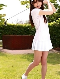 Nana Ozaki exposes big assets and hot bum during golf game