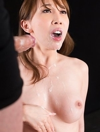Aya Kisaki Sucks Dick with Cum in Her Mouth