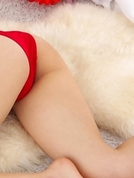 Yuri Hamada with big assets in red lingerie is leering doll